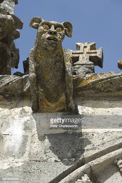 A detail of a gargoyle on the decorated stone wall of the main church of the Convento de Cristo In the late 12 Century Gualdim de Pais who was the...