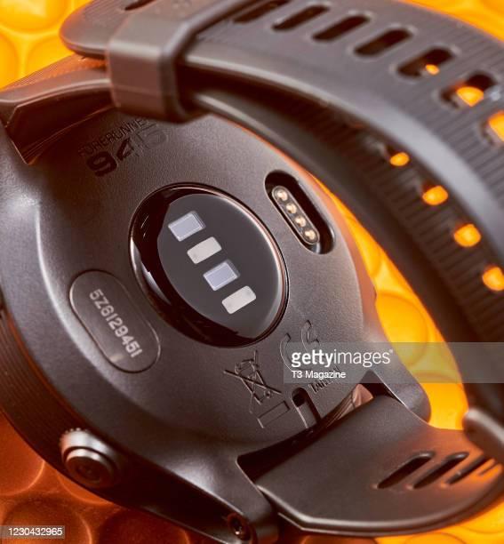 Detail of a Garmin Forerunner 945 smartwatch, taken on March 11, 2020.