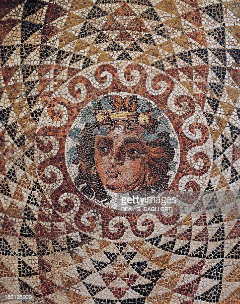 Detail of a geometric mosaic with Dionysus at the centre discovered in a Roman villa in Corinth Greece Roman Civilisation 1st century Corinto Museo...