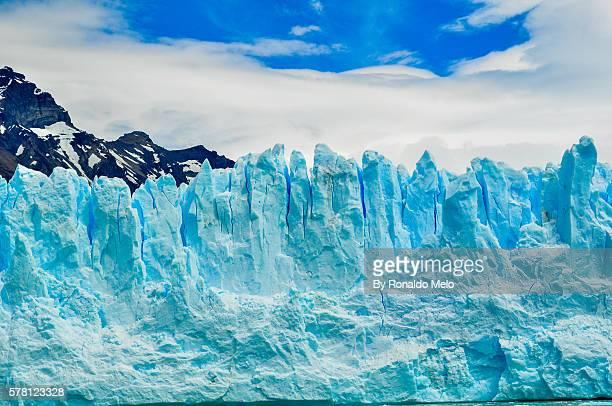 Detail of a glacier with blue sky in Perito Moreno
