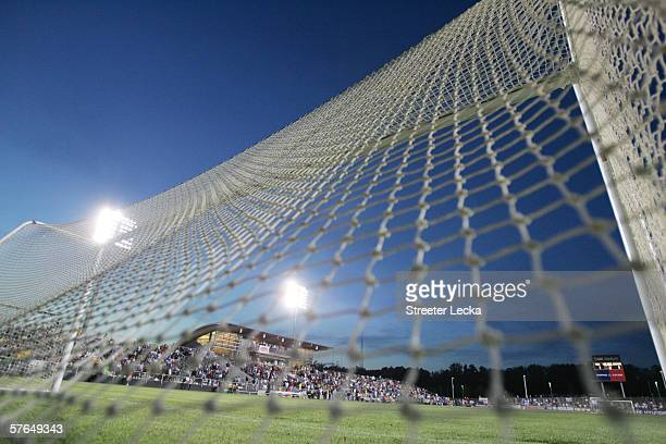 Detail of a goal net before game action between the USA and Jamaica on April 11 2006 at SAS Soccer Park in Cary North Carolina The match ended as a...