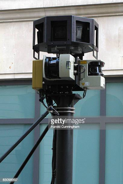 Detail of a Google Street View camera car waits at a light on Bury Place on October 2, 2008 in London, England. The innovation of Google mapping now...