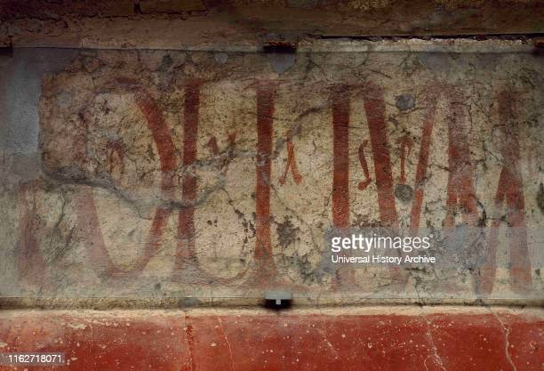 Detail of a graffiti that decorated the facades of the houses in the Street of Abundance It was electoral propaganda tavern advertisements and...