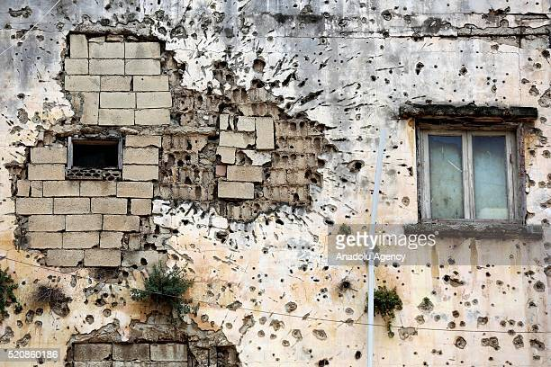 Detail of a house damaged during the Libyan civil war is seen in Beirut, Lebanon on April 13, 2016. The 41st anniversary of the Lebanese civil war...
