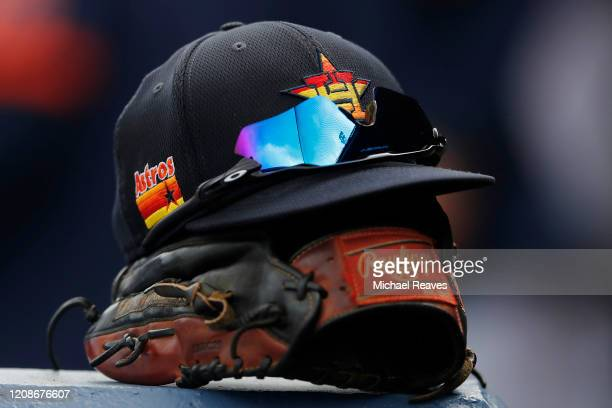 A detail of a Houston Astros hat against the Miami Marlins in the third inning of a Grapefruit League spring training game at FITTEAM Ballpark of The...