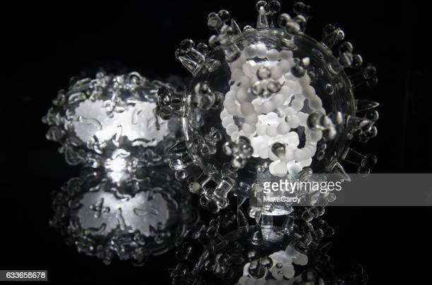 Detail of a jewel-like sculpture of the SARS Coronavirus which forms part of the Glass Microbiology exhibition that aims to brings the invisible...