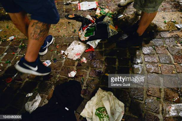 Detail of a Juventus fan wounded by broken glass shards during the first wave of panic during the Champions League final between Real Madrid and...