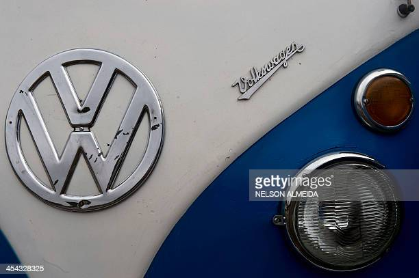 Detail of a Kombi during an exhibition at the Volkswagen plant in Sao Bernardo do Campo, southern Sao Paulo, Brazil on December 8, 2013. VW's Kombi,...
