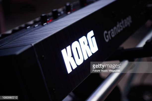 Detail of a Korg Grandstage 88 stage piano taken on October 9 2017