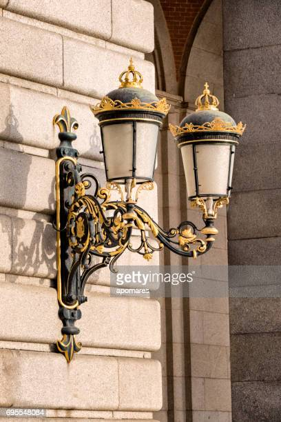 Detail of a lamp on the Royal Palace, Madrid, Spain