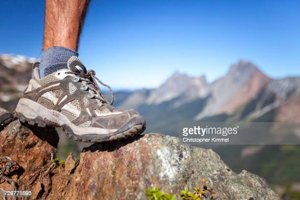 Detail Of A Lightweight Hiking Boot On Rocky Terrain In North Cascade National Park