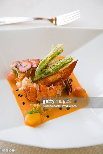 detail of a lobster entree
