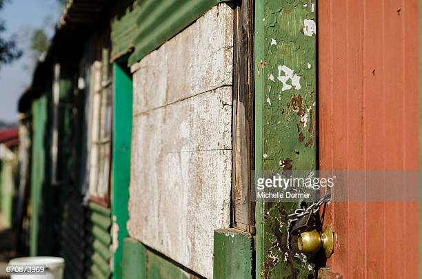 Detail of a lock on a shack in an informal settlement, Hartbeespoort, North West Province.