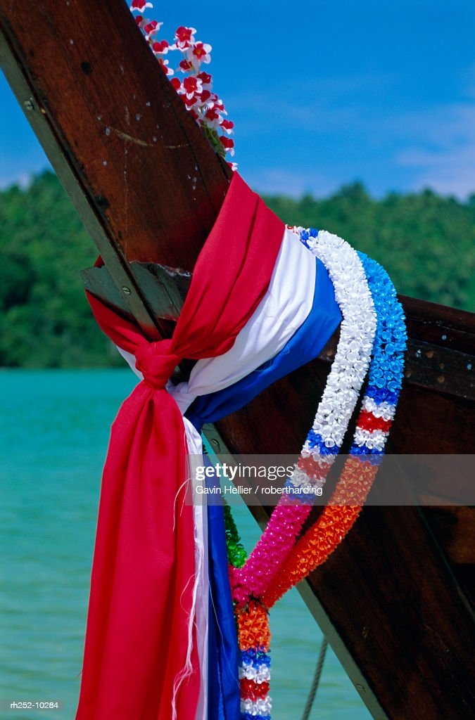 Detail of a long tailed boat, Phi Phi Don Island, Krabi Province, Thailand, Asia : Foto de stock