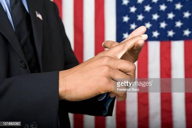 Detail of a man gesturing
