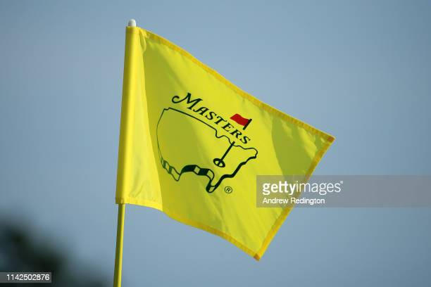 A detail of a Masters pin flag during the third round of the Masters at Augusta National Golf Club on April 13 2019 in Augusta Georgia