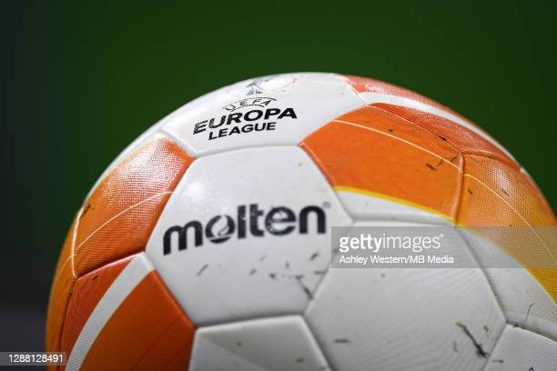 A detail of a match ball before the UEFA Europa League Group J stage match between Tottenham Hotspur and PFC Ludogorets Razgrad at Tottenham Hotspur...