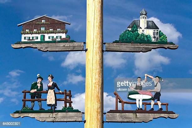 Detail of a Maypole Upper Bavaria Germany Europe