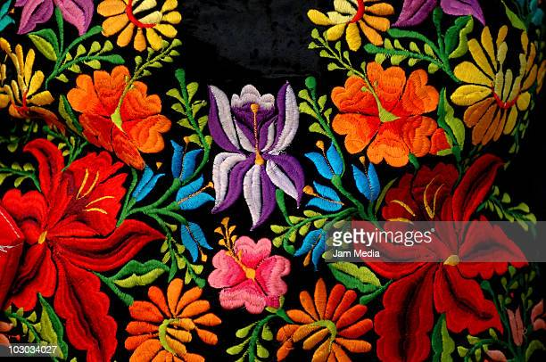 Detail of a Mexican tehuana dress during the Convite en Laollaga as part of the festivities in Isthmus of Tehuantepec know as Las Velas del Istmo at...