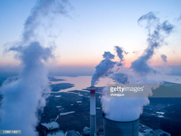 detail of a modern power plant fueled with coal and biomass - greenhouse gas stock pictures, royalty-free photos & images