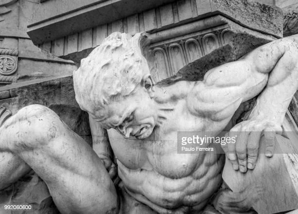 detail of a monument in lisbon - mitologia greca foto e immagini stock