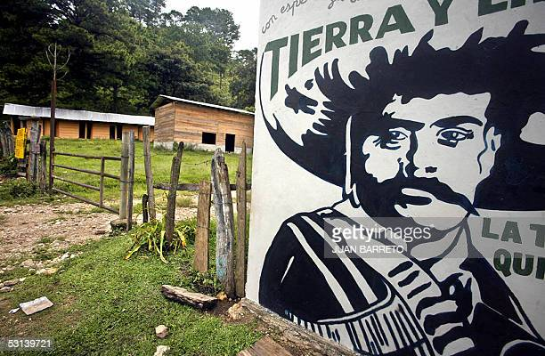 Detail of a mural painting of Mexican revolution leader Emiliano Zapata at the entrance of the Our Words' Whirlwind supporting base of the Zapatista...