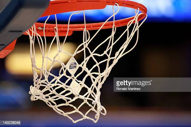 A detail of a net hanging from the rim with an official NBA 2012 Orlando NBA AllStar logo during the 2012 NBA AllStar Game at the Amway Center on...
