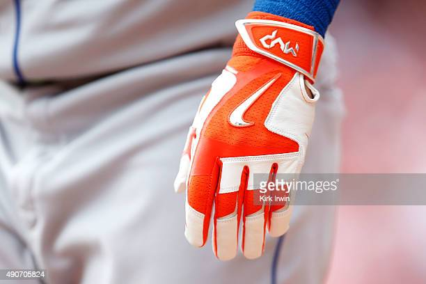 A detail of a Nike batting glove worn by Michael Conforto of the New York Mets during the game against the Cincinnati Reds at Great American Ball...