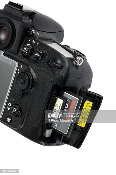 Detail of a Nikon DSLR fitted with SD and CF memory cards taken on September 13 2012