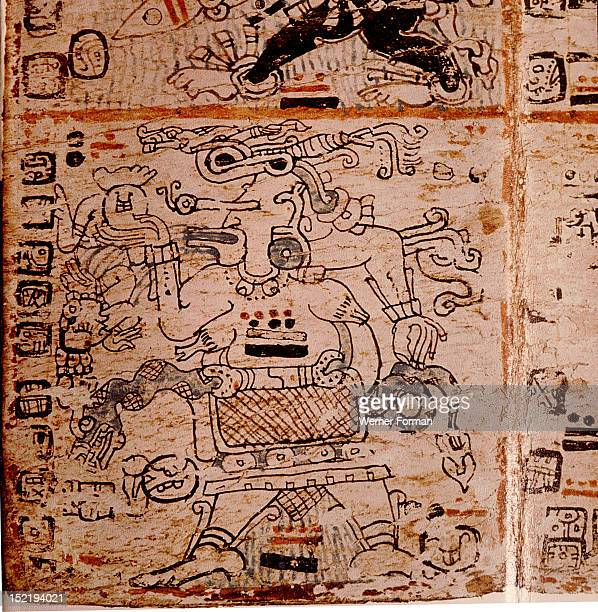 Detail of a page from the codex Troana Cortesianus also known as the Madrid Codex One of only four surviving Mayan codices it is composed entirely of...