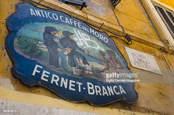 Detail of a painted sign outside the Antico Caffe del Moro in the Trastevere area of Rome taken on May 13 2012