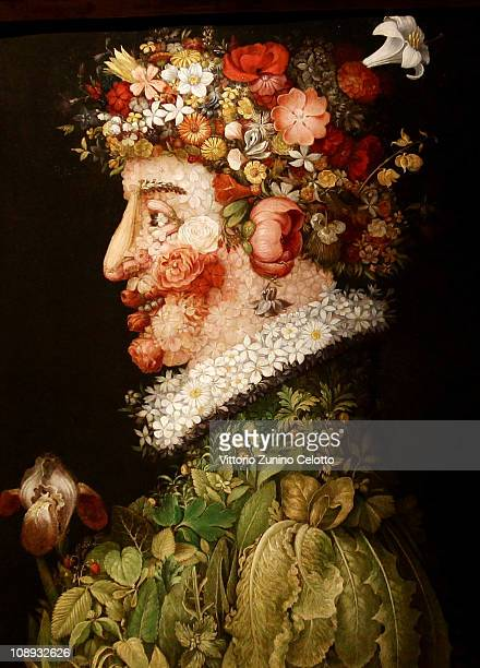 A detail of a painting by Arcimboldo is displayed during the Arcimboldo exhibition press preview held at Palazzo Reale on February 9 2011 in Milan...