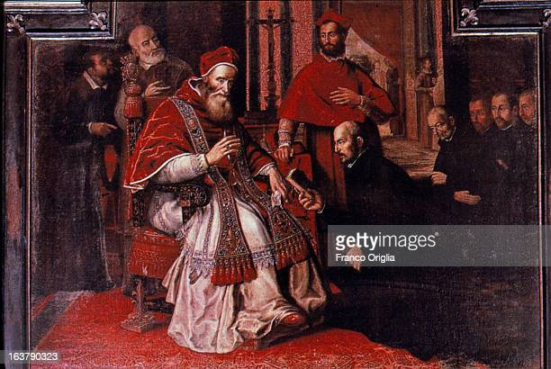 ROME ITALY A detail of a painting featuring Pope Paul III approving the bull containing the Formula of the Institute the document that founds the...