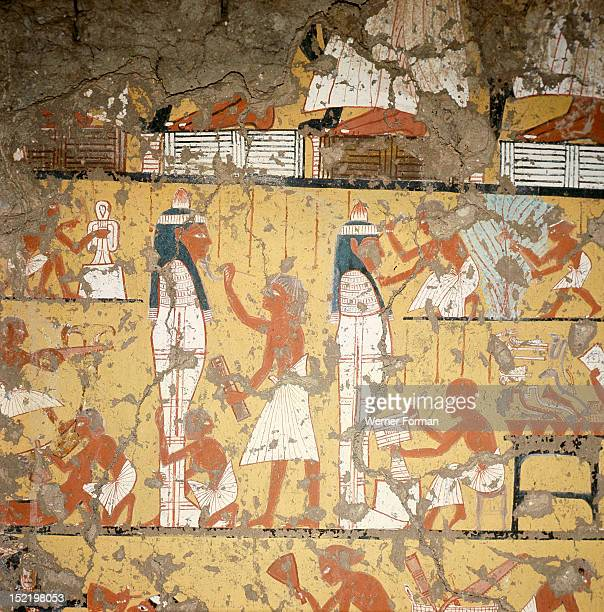 A detail of a painting in the tomb of Ipy depicting carpenters and painters finishing two anthropoid coffins Egypt Ancient Egyptian 19th dynasty/1295...