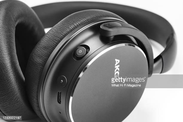 Detail of a pair of AKG Y600NC Wireless headphones, taken on August 28, 2020.