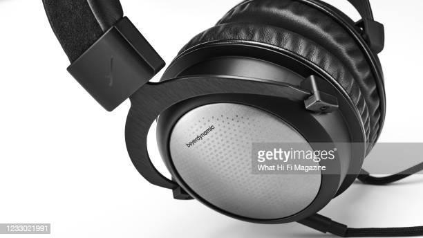 Detail of a pair of Beyerdynamic T5 headphones, taken on September 7, 2020.