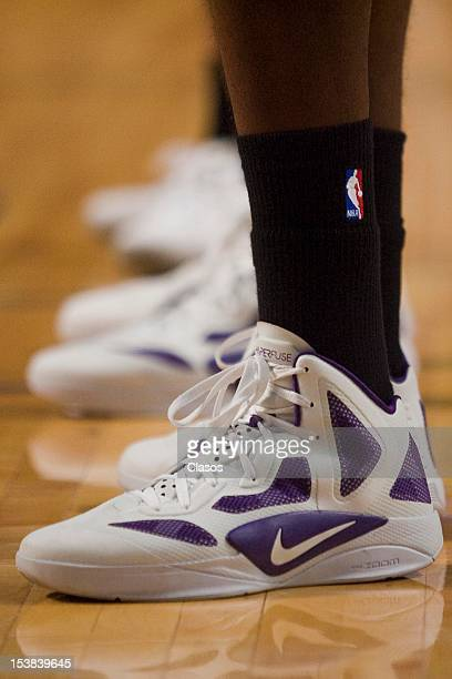 Detail of a pair of sneakers during the basketball Friendly match between New Orleans Hornets vs Orlando Magic at NBA Arena on October 07 2012 in...