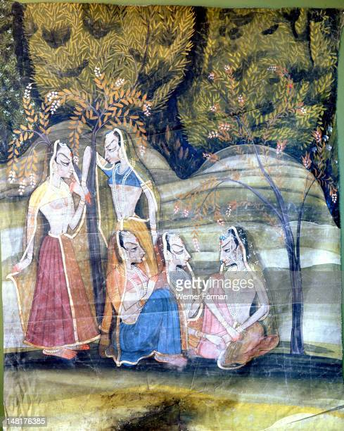 Detail of a palace wall hanging which depicts the legend of Krishna Here the gopis are shown talking amongst one another Krishna's favourite among...