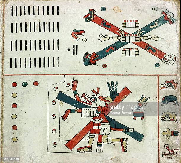 Detail of a panel from the Codex Fejervary Mayer Xolotl the Evening Star at the crossroads of fate Mexico Mixtec style before 1521