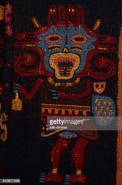 Detail of a Paracas Embroidered Shroud of a Mythological Being