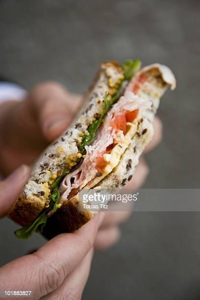 Detail of a person holding a sandwich,  Melbourne, Victoria, Australia