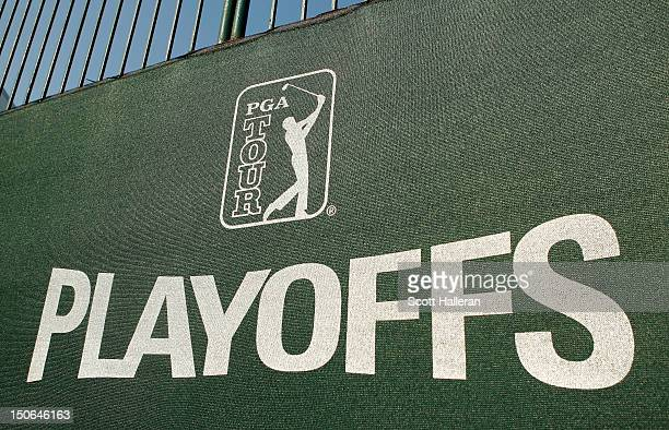 Detail of a PGA Playoffs logo is seen during the First Round of The Barclays on the Black Course at Bethpage State Park August 23, 2012 in...