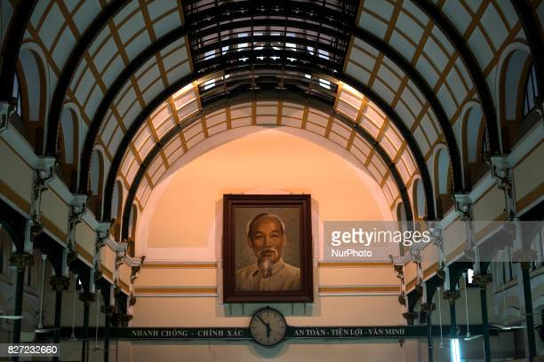 Detail of a picture of Ho Chi Minh inside the Central Post Office of Ho Chi Minh City and was built at the end of the 19th century by Gustave Eiffel...