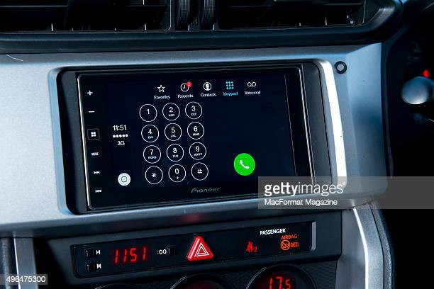 Detail of a Pioneer head unit fitted in a Subaru BRZ photographed for a feature on Apple's CarPlay taken on December 19 2014