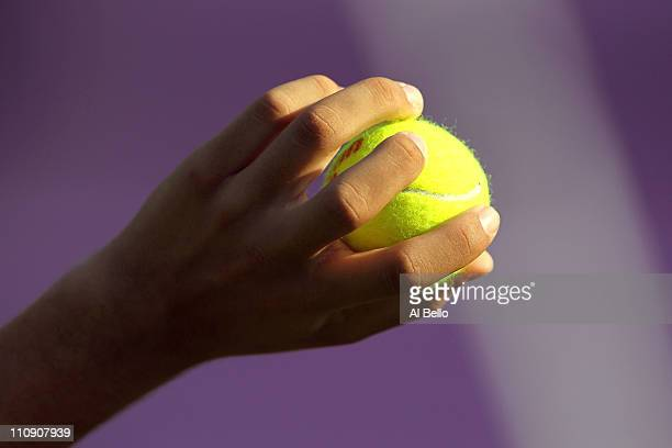 A detail of a play as they get set to serve the ball during the Sony Ericsson Open at Crandon Park Tennis Center on March 25 2011 in Key Biscayne...