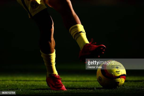 Detail of a player of America kicking the ball prior to the second round match between America and Pachuca as part of the Torneo Clausura 2018 Liga...