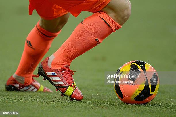 Detail of a player of Fluminense's boots during the match between Fluminense and Portuguesa for the Brazilian Series A 2013 at Maracana on September...