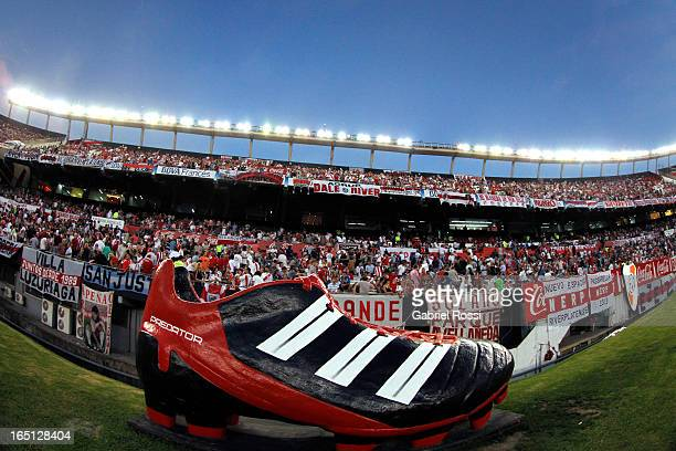 Detail of a player's boot during a match between River Plate and Velez Sarsfield as part of Torneo Final 2013 at Antonio Vespucio Liberti Stadium on...