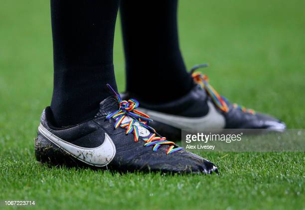 Detail of a players boots wearing rainbow laces in support of the This Is Everyones Game campaign during the Premier League match between Newcastle...