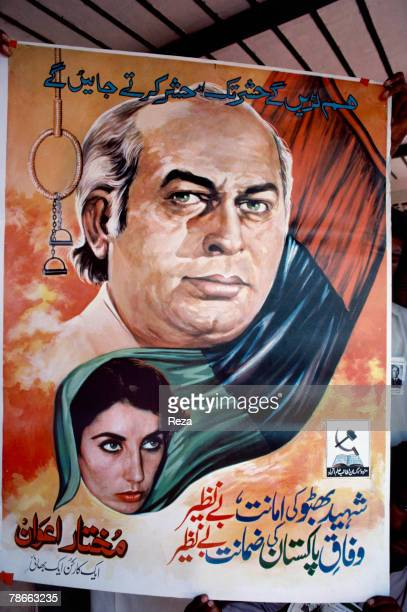 Detail of a poster supporting Pakistan People's Party candidate Benazir Bhutto also picturing her father Zulfikar Ali Bhutto during the election...